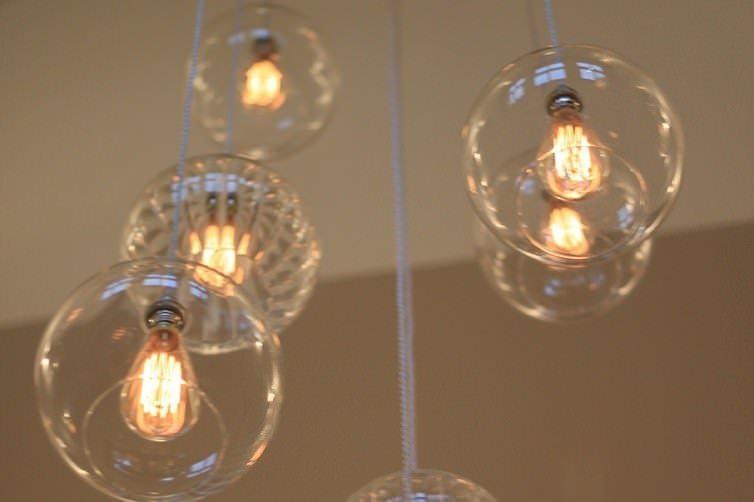 GLASS GLOBE CLUSTER PENDANT LIGHT CHANDELIER