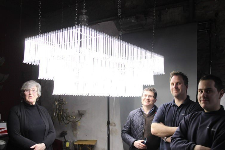 BESPOKE CRYSTAL 'SKI' CHANDELIER DESIGNED FOR A SWISS LODGE