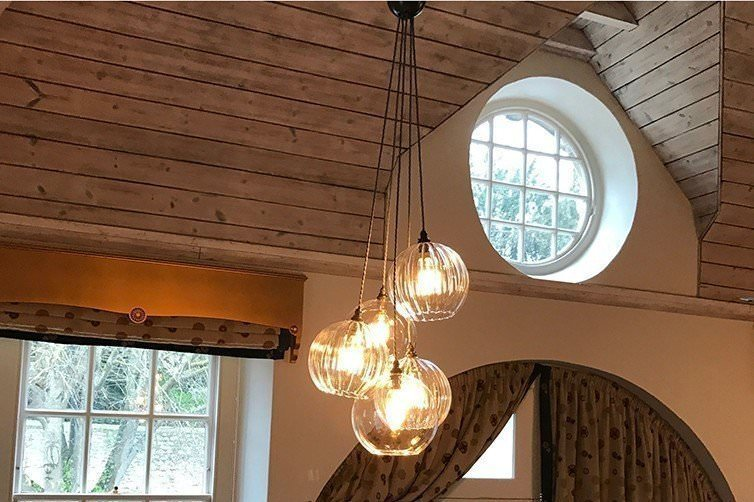 Designer-Lighting-Multi-way-cluster-chandelier-glass-ribbed-globes-fritz-fryer