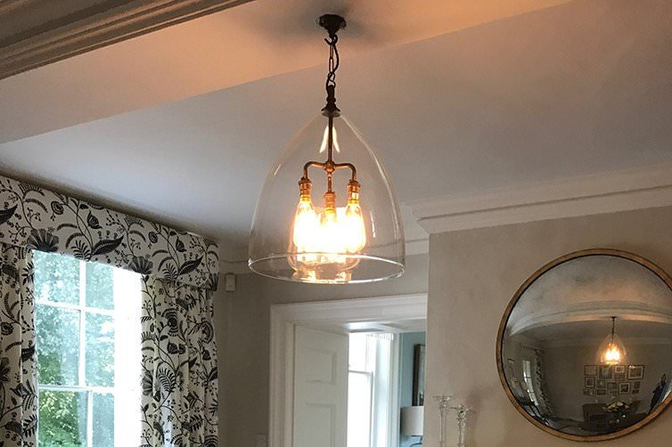 designer, light, glass, ceiling, pendant, 3, bulbs, centre, Ledbury, drawing, room