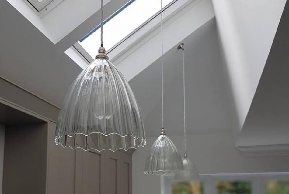 designer, pendant, lights, sloping, ceiling, installation, contemporary, kitchen
