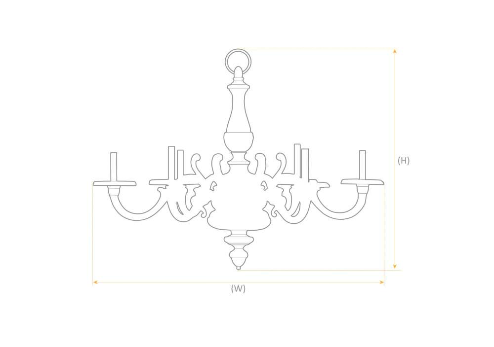 Sizing Sample - Quality 5 Branch Silver Plate Chandelier, Antique Lighting