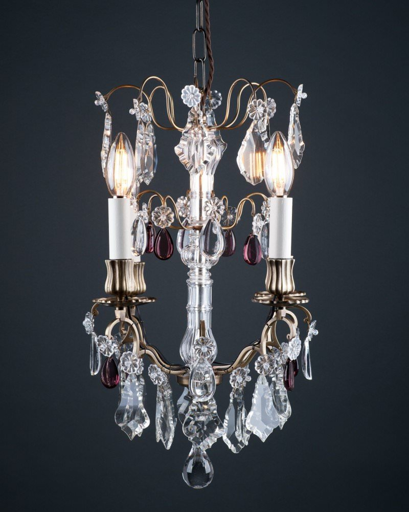 French Cage Crystal Chandelier With Purple Droppers Antique Lighting