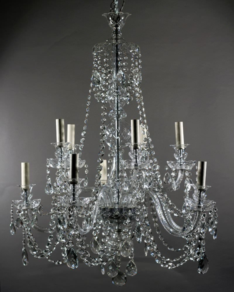 Crystal Chandelier Old: 10 Branch Antique Bohemian Crystal Chandelier