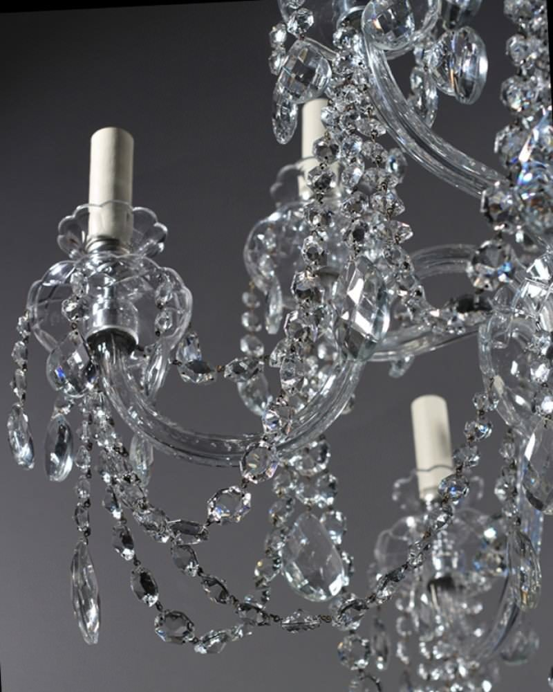 10 branch antique Bohemian crystal chandelier
