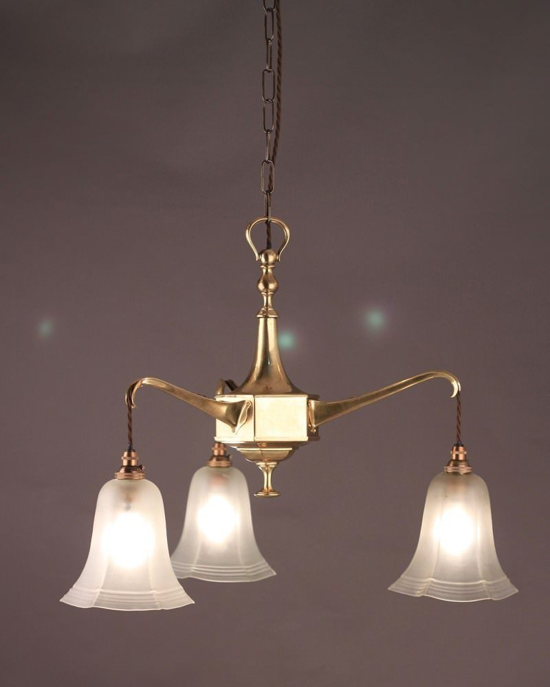 3 Branch Brass Arts and Crafts Chandelier with Satin Glass