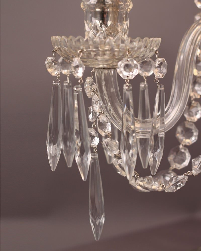 3 Branch Crystal Candelabra Table Lamp Fritz Fryer