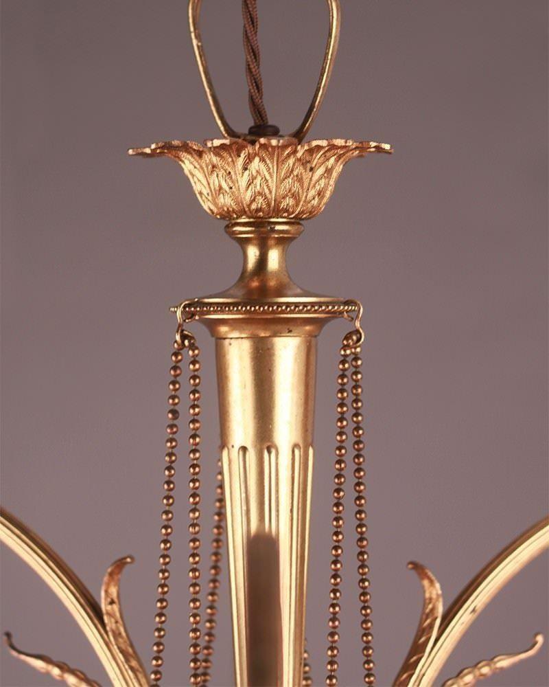 3 branch gilt chandelier with satin glass shades fritz fryer. Black Bedroom Furniture Sets. Home Design Ideas