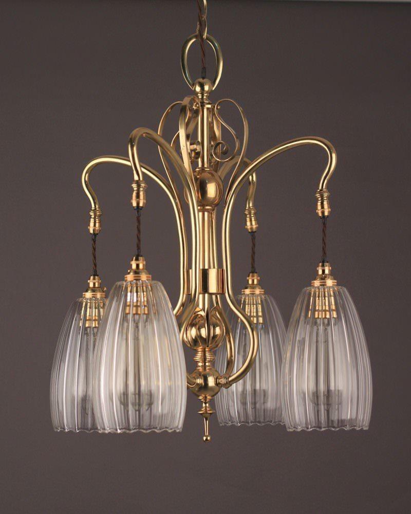 Art Nouveau Brass 4 Branch Chandelier Upton Glass Shades