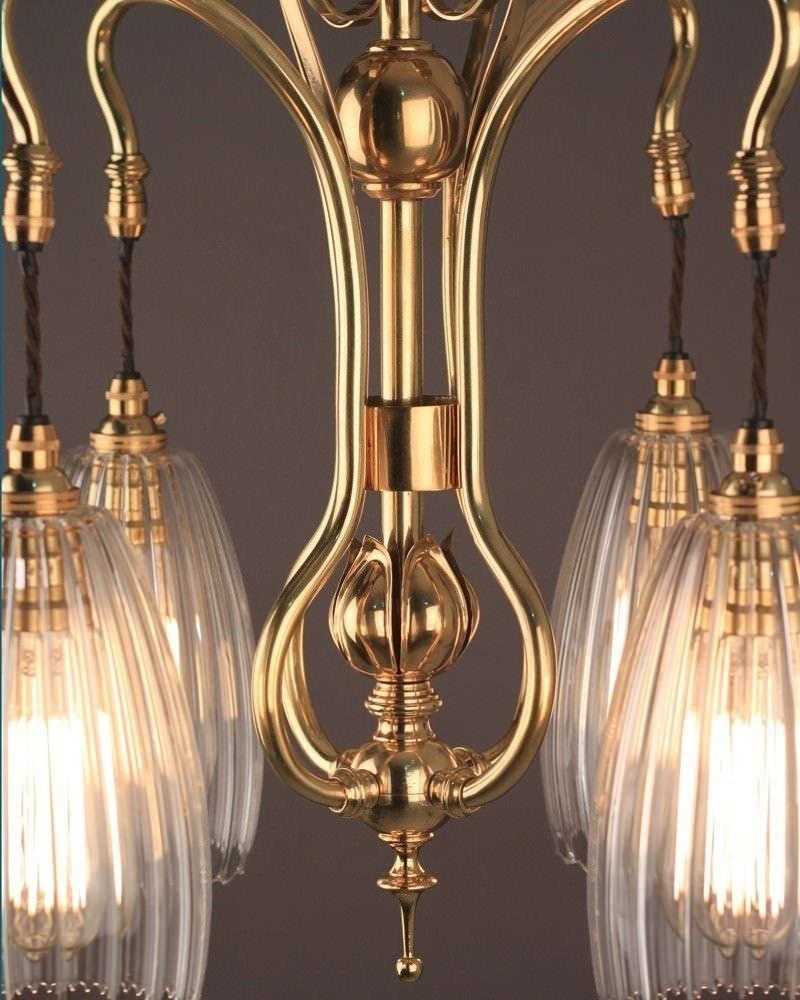 Art nouveau chandelier 4 branch art nouveau chandelier for Chandelier art nouveau