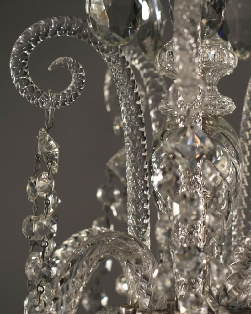 Crystal Chandelier Old: Antique Crystal Chandelier, English