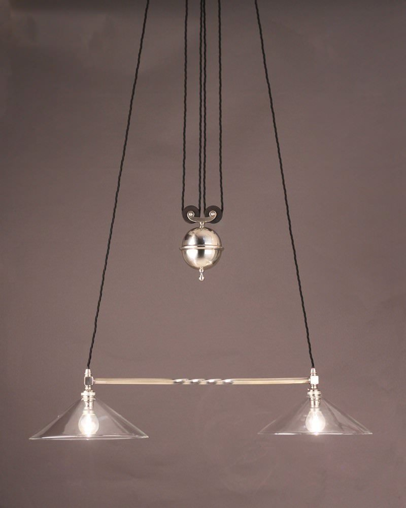 Antique Silver Plate Rise And Fall Pendant Light