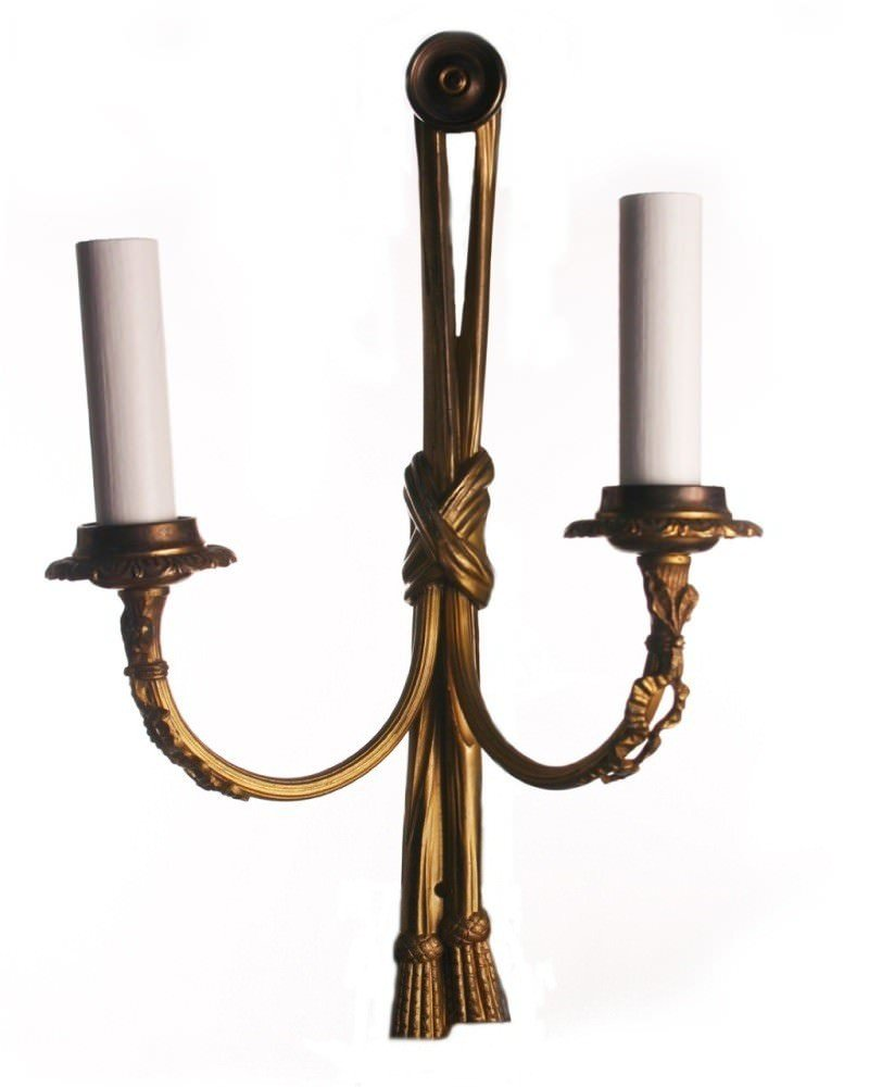 Edwardian Wall Light, Gilt Sconces With Ribbon And Bow Design, Antique  Lighting