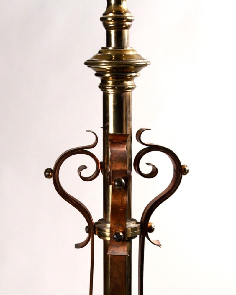 Antique Brass And Copper Standard Lamp