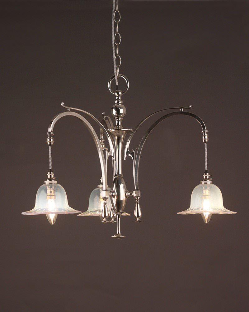 Art nouveau silver plate chandelier with eau de nil shades for Chandelier art nouveau