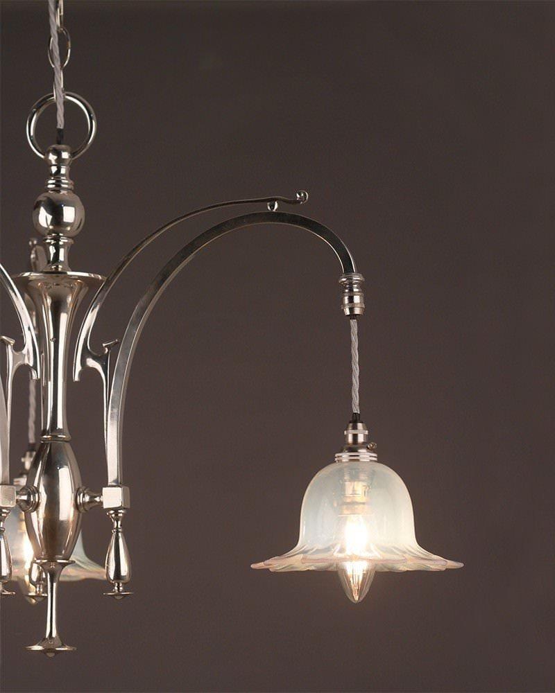 Chandelier Lighting Art Nouveau Silver Plate Chandelier
