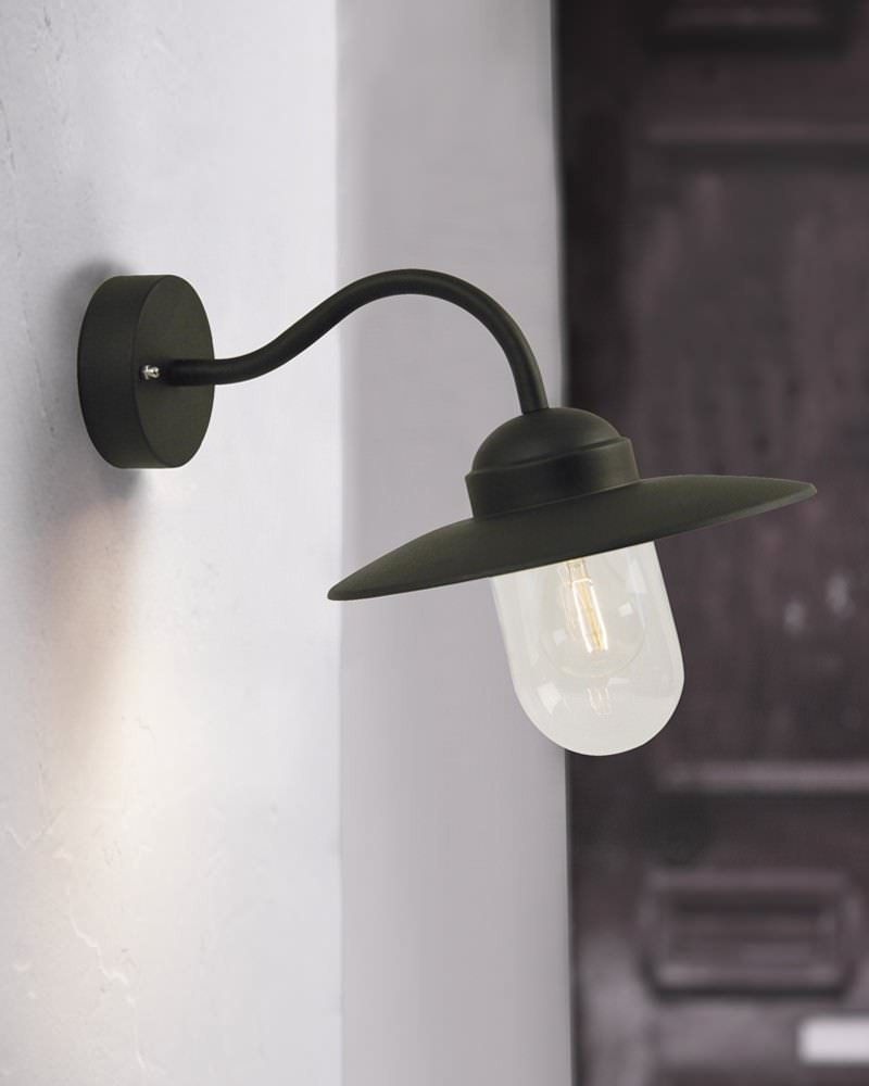 Black Outdoor Wall Lamps : Black Canted Arm Outdoor Wall Light Fritz Fryer