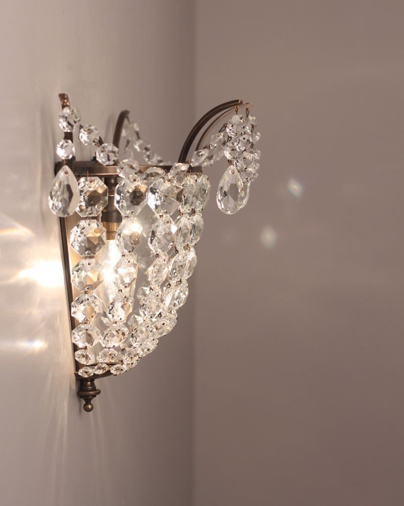 Brass And Crystal Wall Light, Vintage Retro Wall Light