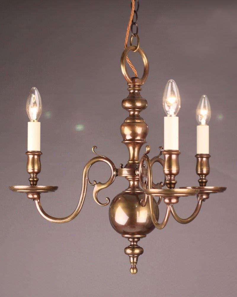brass three branch dutch chandelier. Black Bedroom Furniture Sets. Home Design Ideas