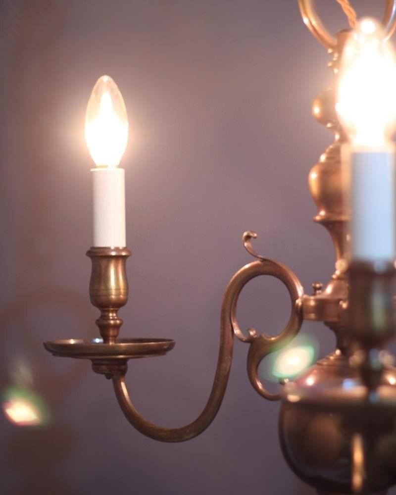 brass three branch dutch chandelier fritz fryer. Black Bedroom Furniture Sets. Home Design Ideas