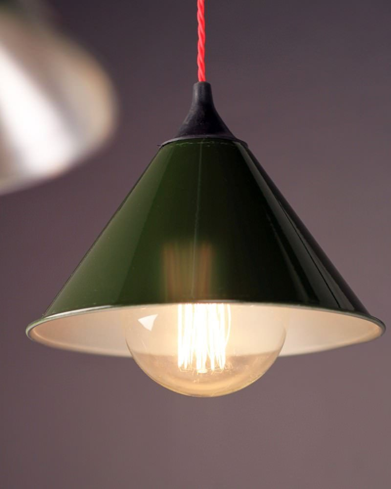 Spun Aluminium British Army Green Pendant Ceiling Light, Retro Industrial Lighting