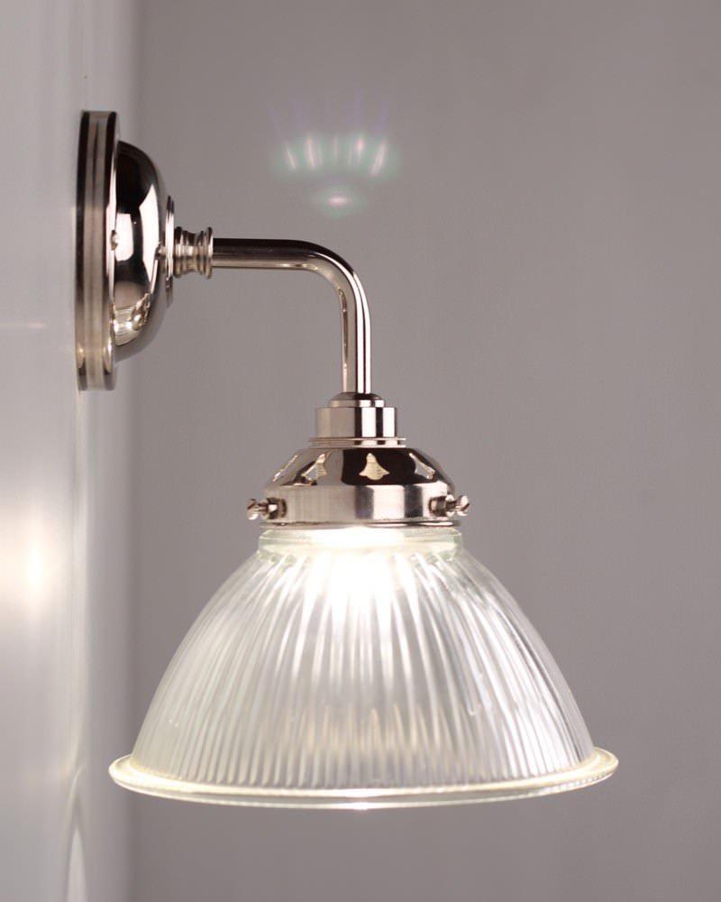 Bathroom Wall Lamp: Carey Prismatic Glass Contemporary Bathroom Wall Light