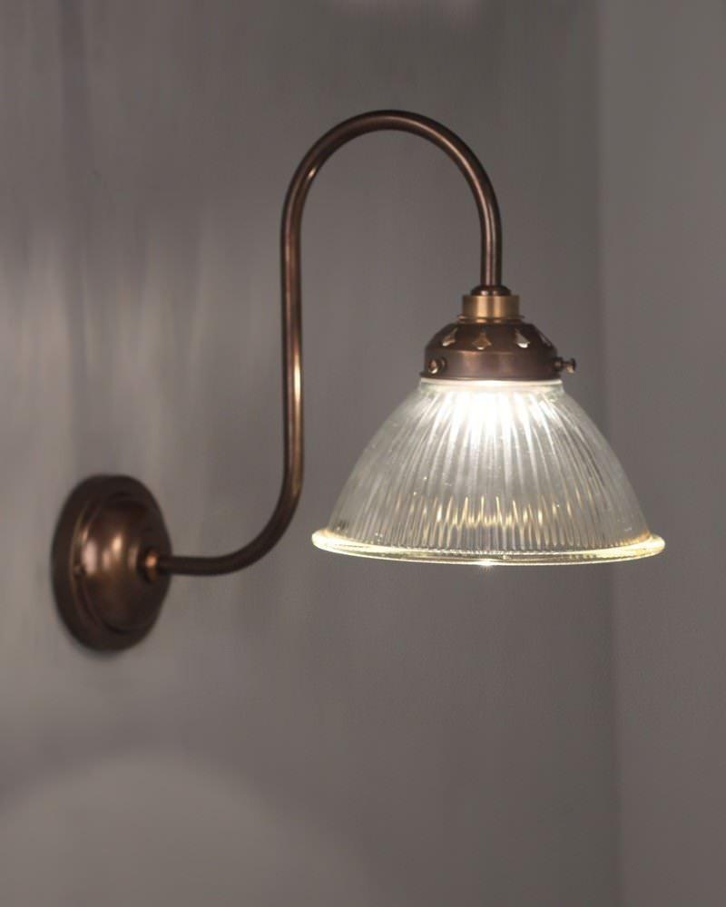 Carey Prismatic Glass Shade Swan Neck Bathroom Wall Light Fritz Fryer