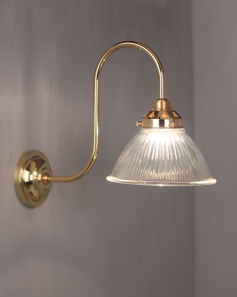 Prismatic Glass Wall Lights : Carey Prismatic Glass Shade Swan Neck Bathroom Wall Light Fritz Fryer