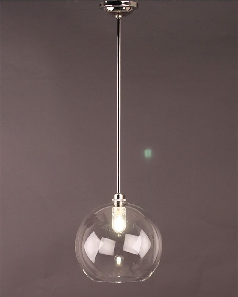 Clear globe pendant bathroom ceiling light hereford retro for Pendant lights for bathrooms