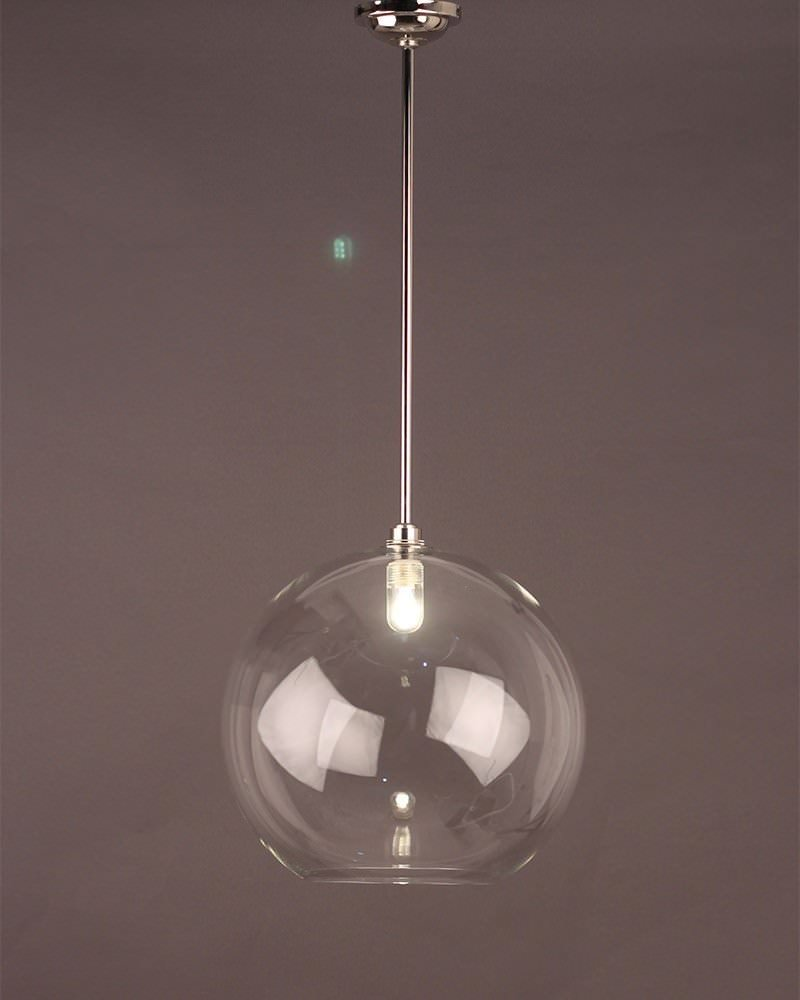 Hereford Clear Glass Globe Bathroom Ceiling Light Fritz