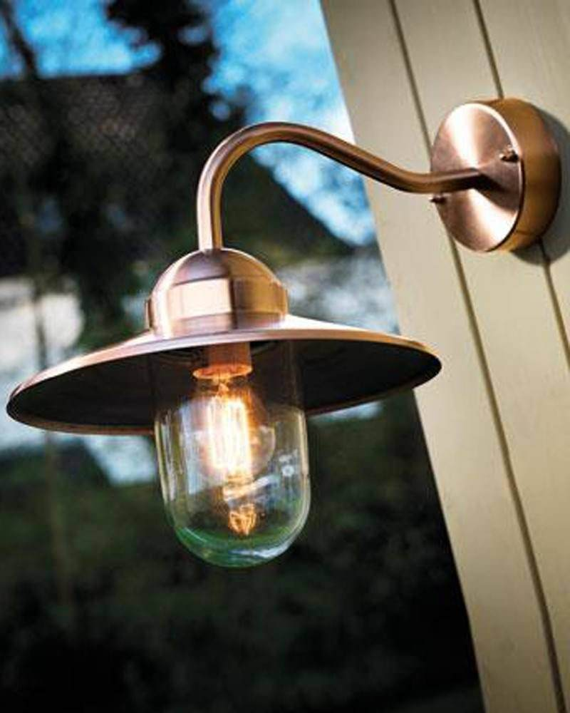 Copper Canted Arm Outdoor Wall Light Fritz Fryer