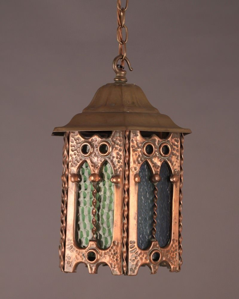 Copper Lantern With Decorative Coloured Glass Fritz Fryer