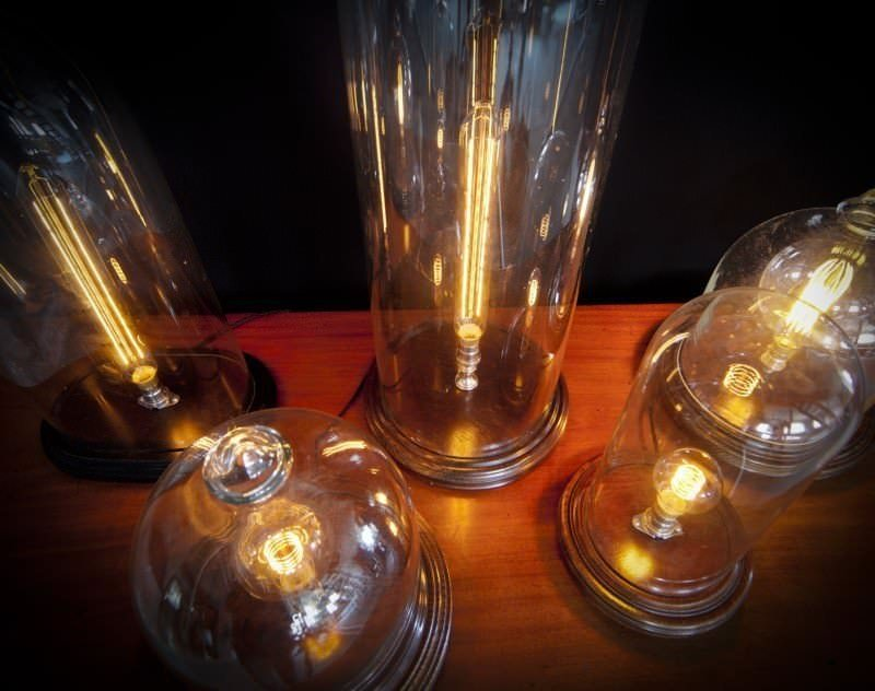 Vintage Retro Glass Dome Table Lamp With Squirrel Cage Light Filament Bulb
