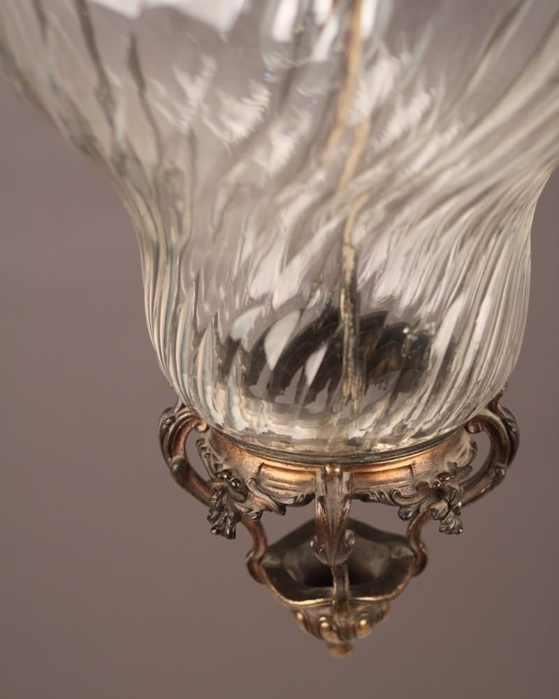 Rococo Hall Lantern (English 1900's), Swirled Clear Glass, Antique Lighting