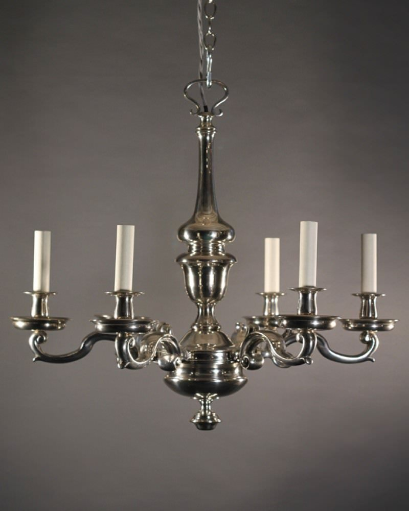 English Silver Plate Antique Chandelier Fritz Fryer