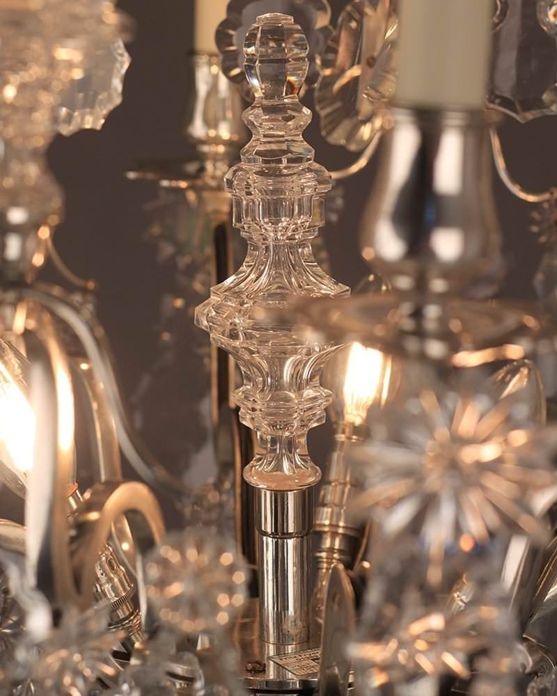 Antique French Crystal 6 Branch Cage Chandelier