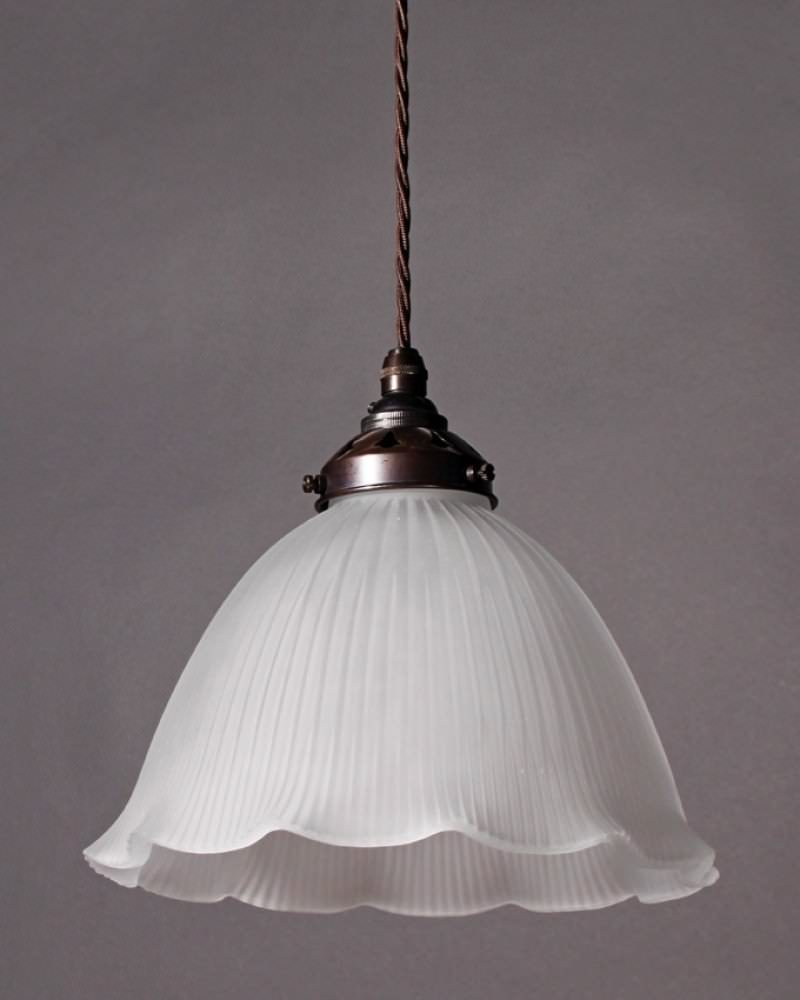 frosted glass fluted pendant light fritz fryer