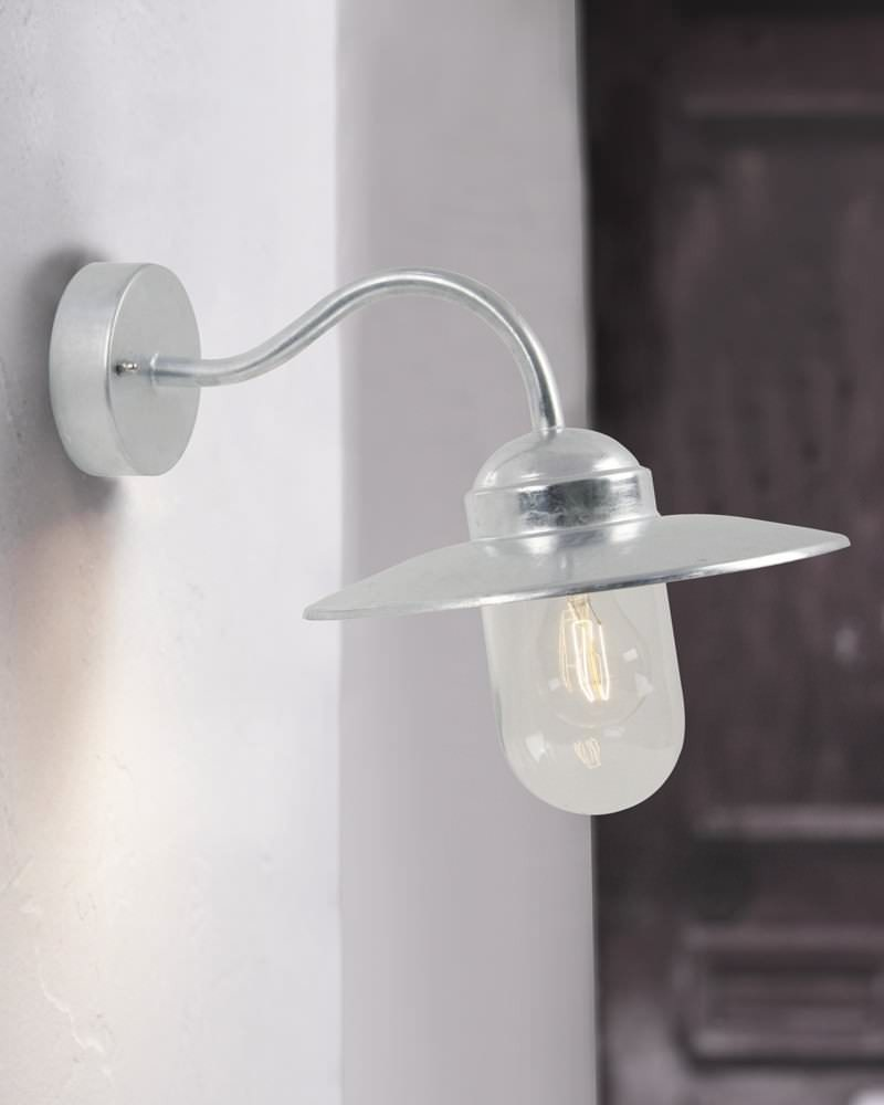 Galvanised Steel Canted Arm Outdoor Wall Light Fritz Fryer