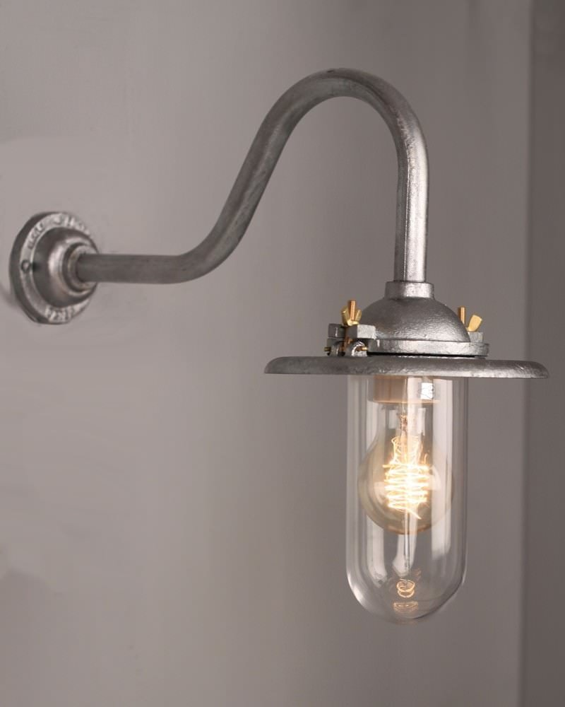 Cast Iron And Galvanised Steel Outdoor Swan Neck Wall Light, Retro Industrial Lighting