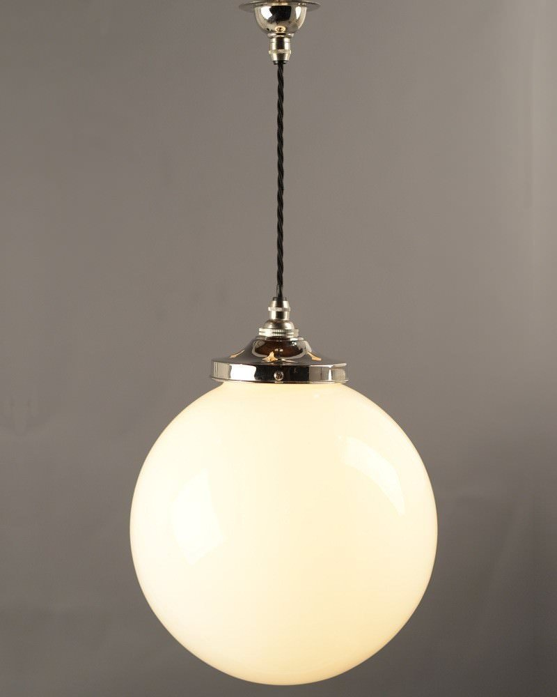 Garway White Opal Glass Globe Pendant Ceiling Light, Contemporary Lighting