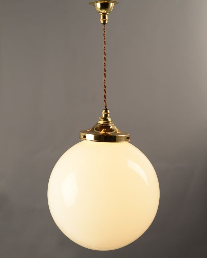 Garway White Opal Glass Globe Pendant Ceiling Light, Contemporary Lighting