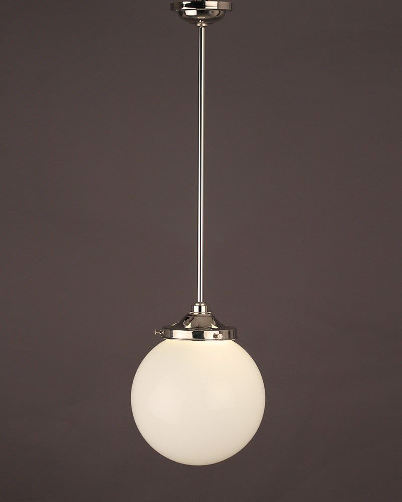 Garway White Glass Globe Bathroom Ceiling Light Fritz Fryer