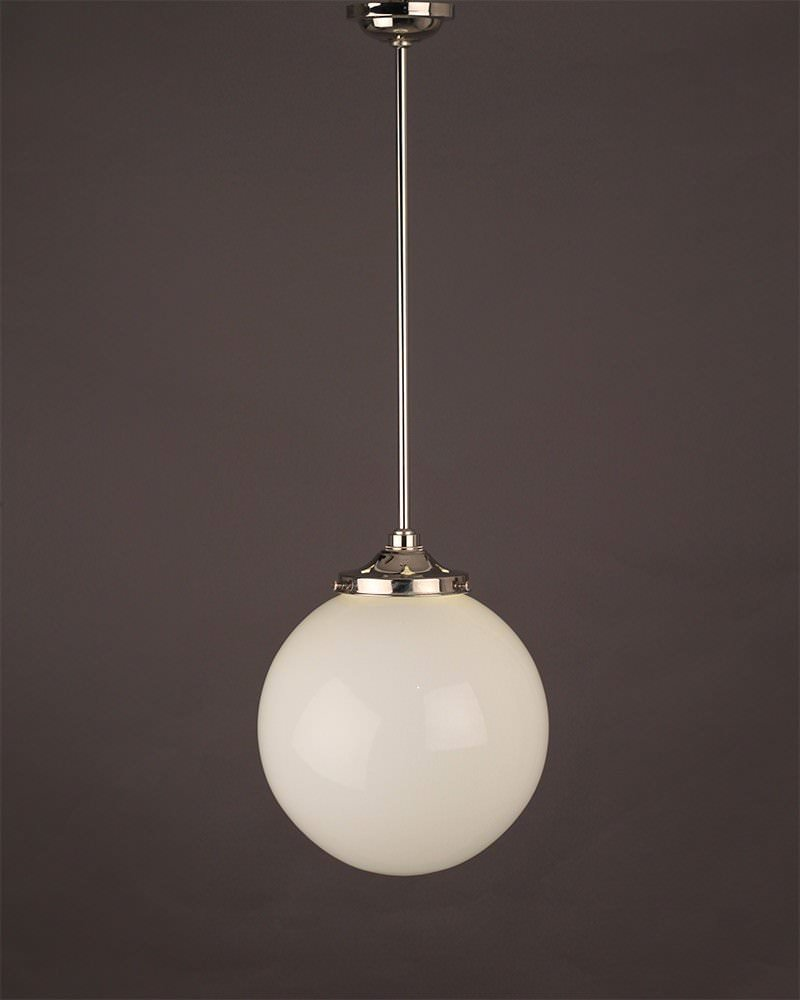 Garway white glass globe bathroom ceiling light fritz fryer for Pendant lights for bathrooms