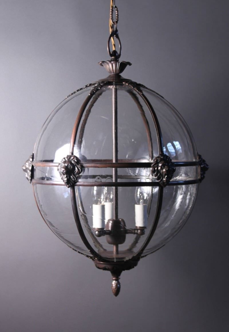 & Brass Globe Hall Lantern Light Antique Lighting