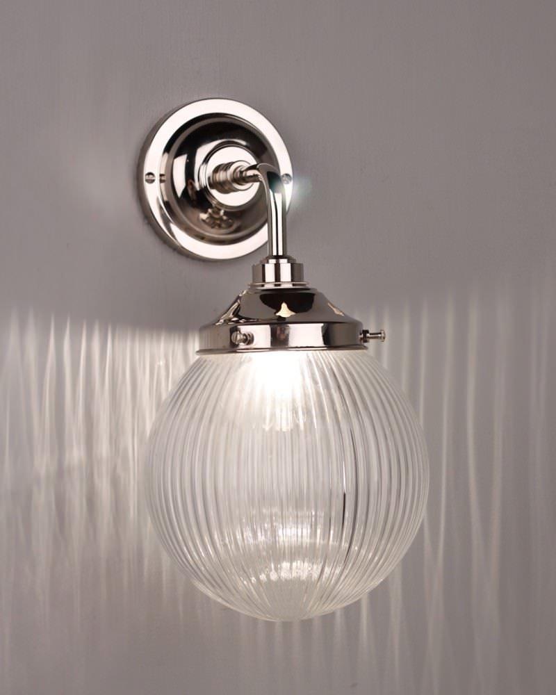 Prismatic ribbed glass globe bathroom wall light goodrich art deco bathroom lighting contemporary lighting globe lighting prismatic lighting aloadofball Choice Image