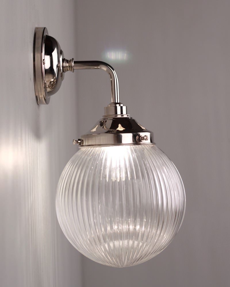 Wall Sconce With Prismatic Glass : Goodrich Prismatic Glass Globe Contemporary Bathroom Wall Light Fritz Fryer