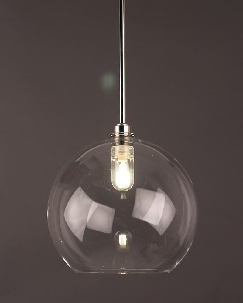 Clear Globe Pendant Bathroom Ceiling Light, Hereford Retro