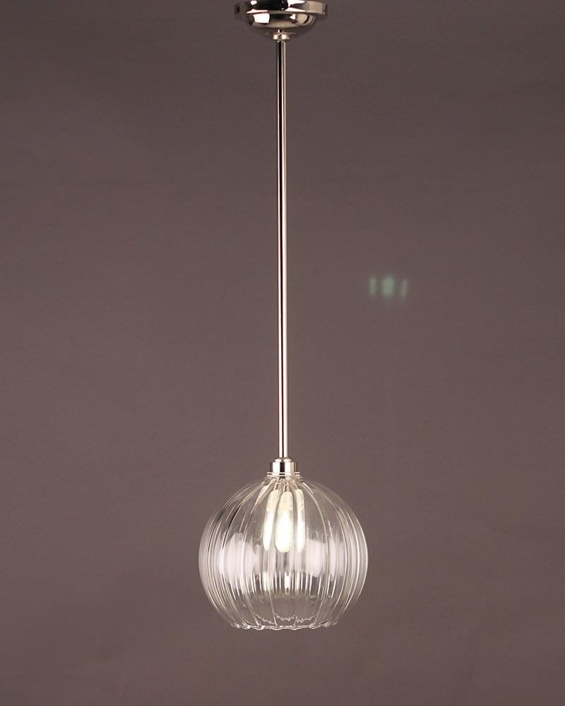 Hereford Ribbed Glass Globe Bathroom Ceiling Light