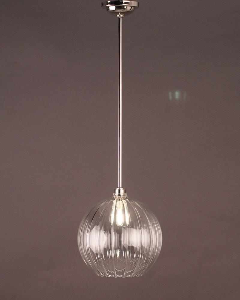 Hereford Ribbed Glass Globe Bathroom Ceiling Light Fritz