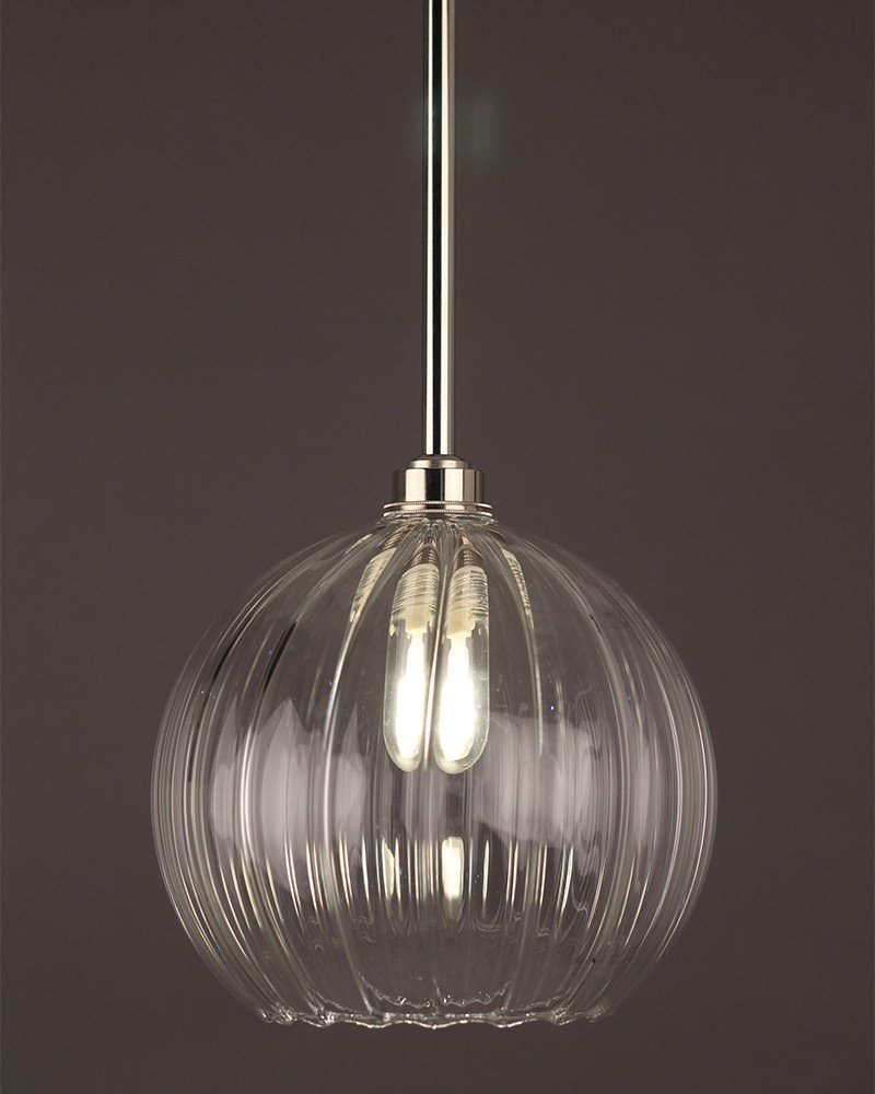 Hereford Ribbed Glass Globe Bathroom Ceiling Light Fritz Fryer